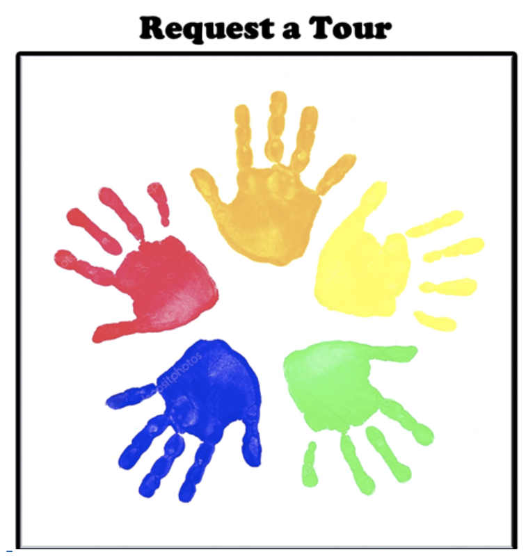 Hand prints to request a tour at the preschool