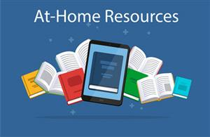 Image of books linking to at-home student resources